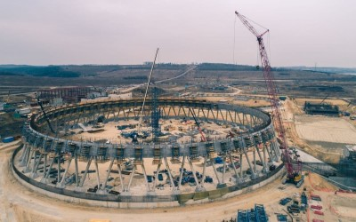 Бетонирование оболочки самой высокой градирни в России начали на Курской АЭС-2